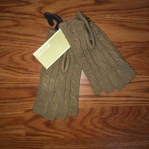 Michael Kors Tan Cable Knit Fingerless Gloves
